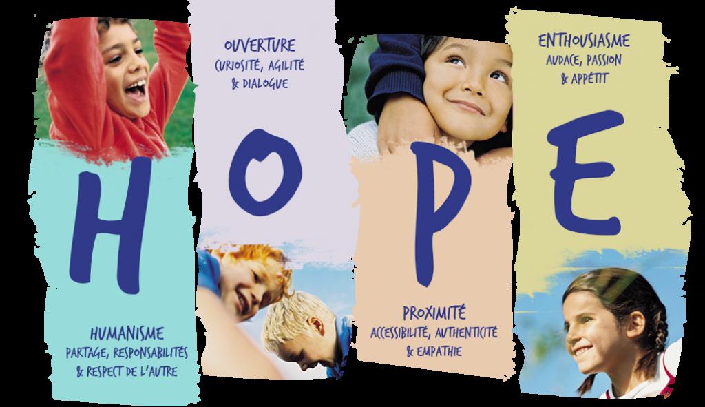 HOPE : H, Humanisme : partage, responsabilités, & respect de l'autre - O, ouverture : curiosité, agilité & dialogue - P, promximité : accessibilité, authenticité & empathie - E, enthousiasme : audace, passion & appétit